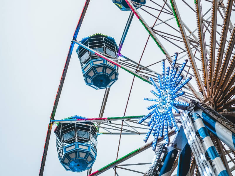 The festival wheel lit up