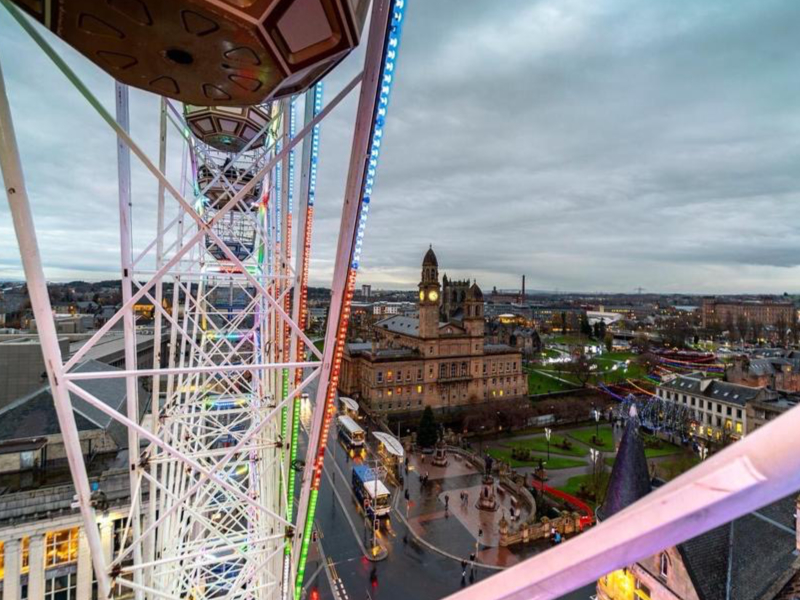 View of Paisley town from Festival Wheel